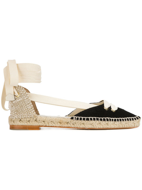 Manolo X Castaner women espadrilles lace leather black satin shoes