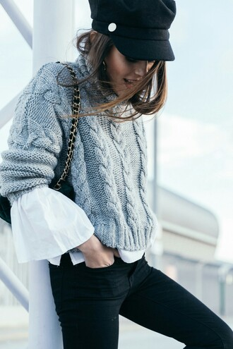 sweater tumblr grey sweater cable knit grey cable knit sweater shirt white shirt hat black hat fisherman cap denim jeans black jeans skinny jeans bag pastel sweater sweater weather outfit idea