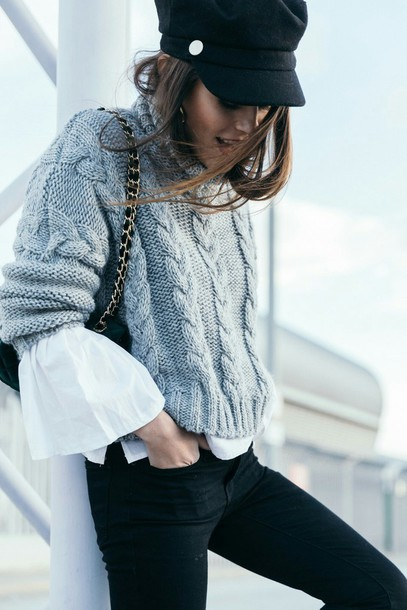 Sweater tumblr grey sweater cable knit grey cable knit for Black sweater white shirt