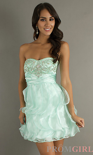 Strapless Short Prom Dress, Short Strapless Dresses- PromGirl