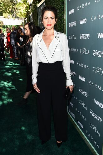 blouse top pants black and white nikki reed celebrity