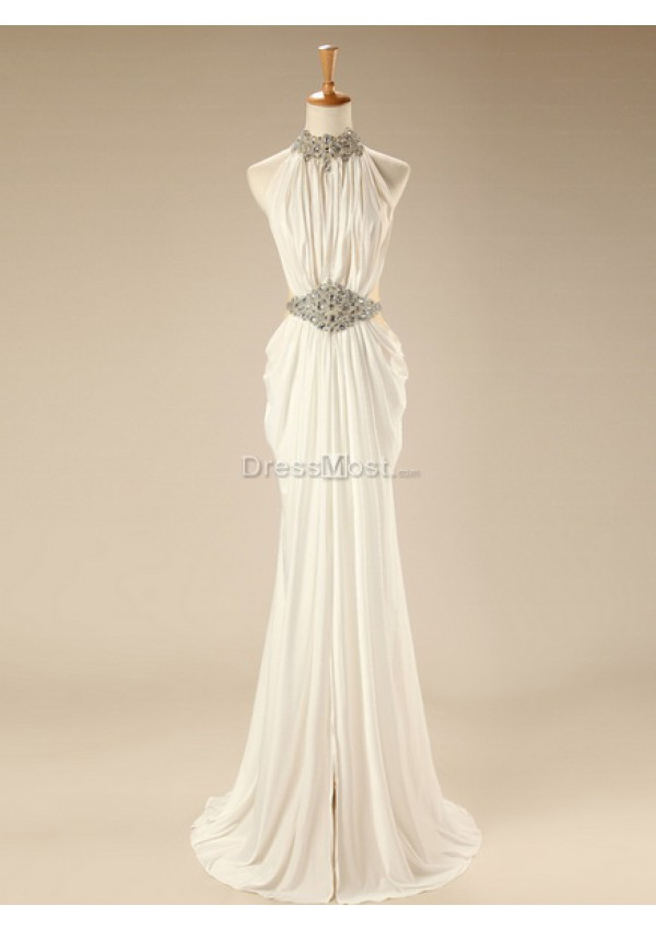 Lovely scoop sleeveless natual evening dress