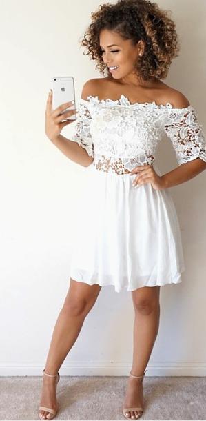 0d75c07d8b dress lace dress lace white dress off the shoulder white a line dress fit  and flare