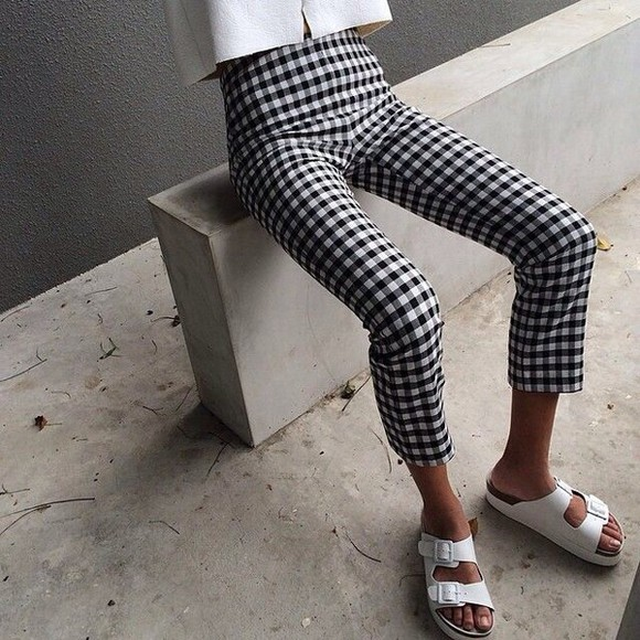 printed pants black and white checkered 3/4 style tumblr photo