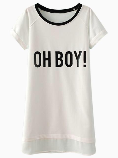 White oh boy chiffon hem shift dress