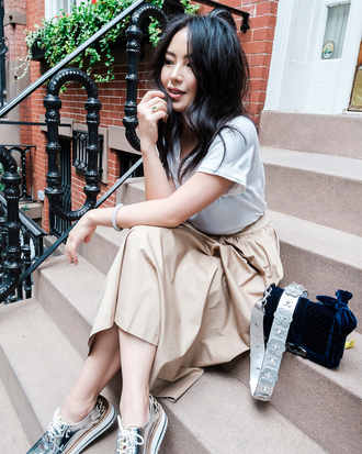 the fancy pants report blogger skirt shoes bag shirt fall outfits metallic shoes beige skirt