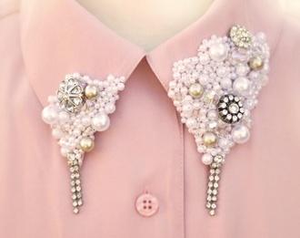 blouse shirt pink peach collar pastel cute