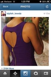 dress,heart,heart cut out,purple dress,cute dress