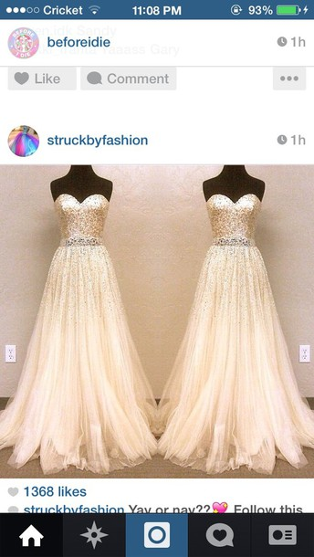 dress white bride glitter long gown ivory brides dress ivory and gold