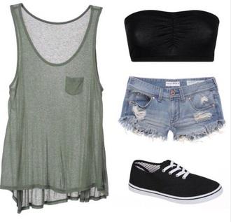 top bralet top loose tshirt denim shorts shoes shorts summer top underwear spring break