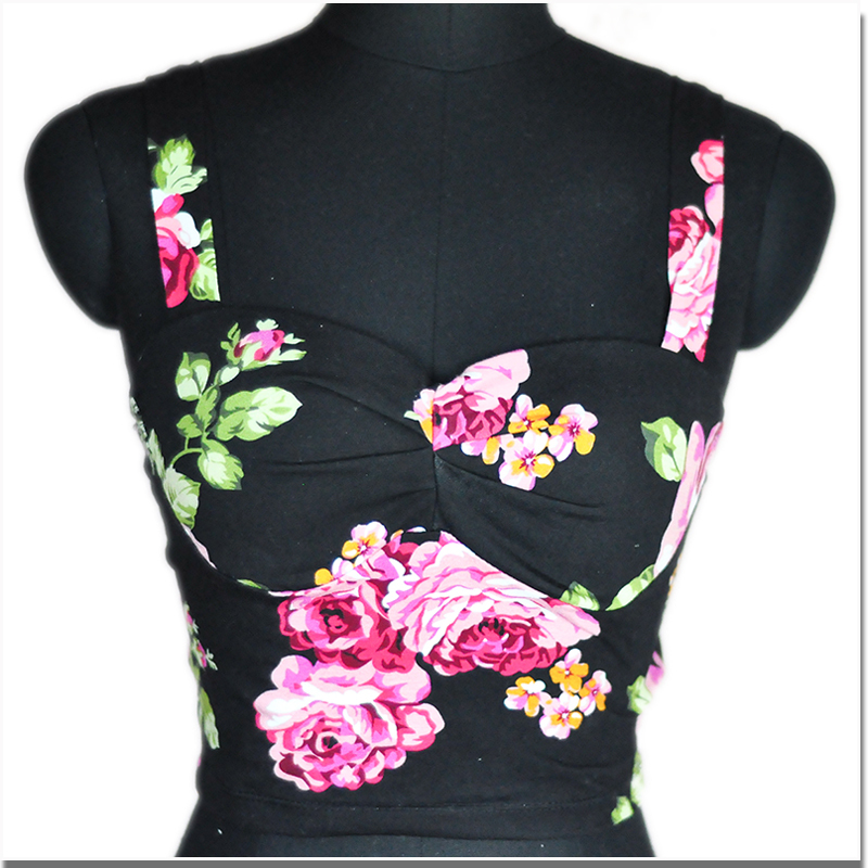 new woman fashion vintage retro sexy pin up girl flower prints strape camis bra corset vest halter top bustier free shipping-in Bustiers & Corsets from Apparel & Accessories on Aliexpress.com