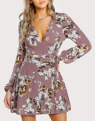 dress girly floral flowers floral dress mini dress mini cute cute dress long sleeves wrap dress
