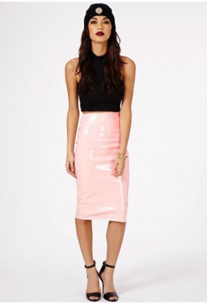 skirt plastic shiny latex