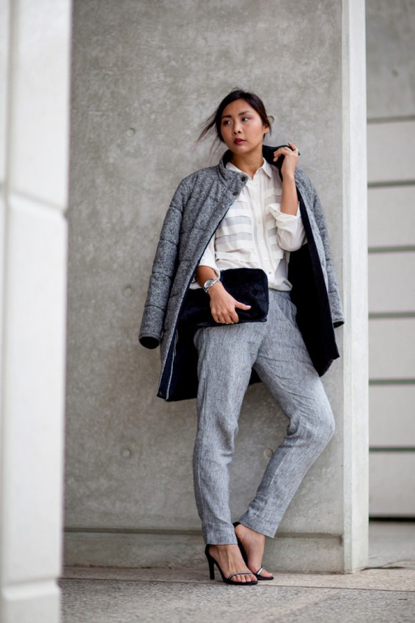 closet voyage jacket shirt pants bag jewels coat puffer jacket grey jacket white shirt black bag grey pants sandals sandal heels high heel sandals