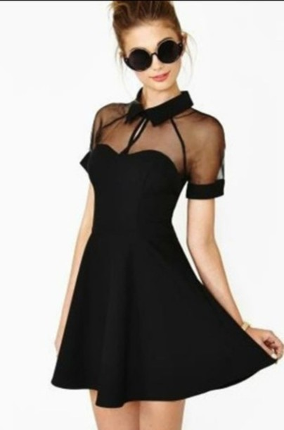 dress peplum little black dress mesh short sleeve dress black dress sheer cute  dress cute black 8c63d244fd