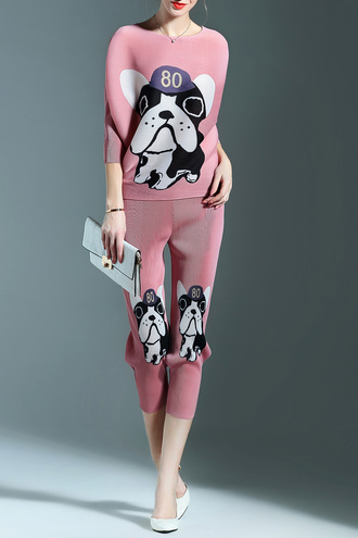 jumpsuit pink pugs two-piece comfy fashion style summer dezzal