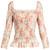 Taylor square-neck floral-print cotton top