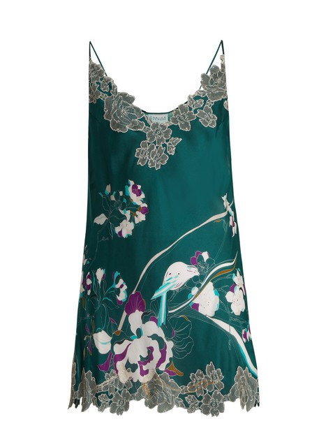 Carine Gilson dress midi dress midi lace silk satin print green