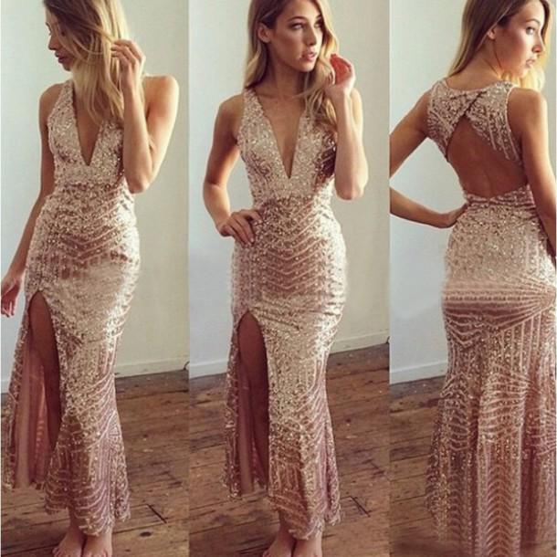 872b2ec794 dress sexy dress sexy peach dresses sequins sequineddress sleeveless dress  sleeveless wedding dresses v neck dress
