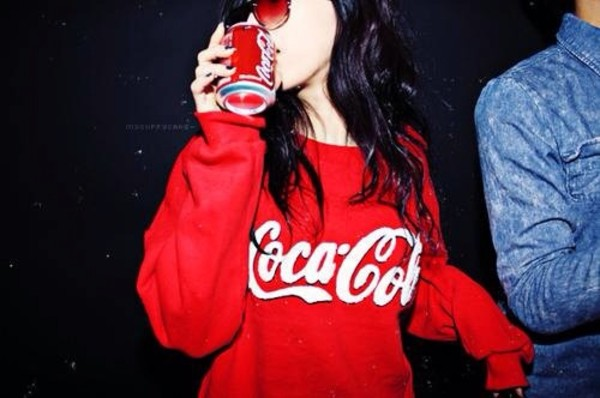 sweater coke girly cute sweaters white red