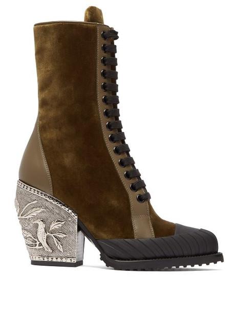 heel velvet ankle boots embellished ankle boots velvet khaki shoes
