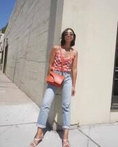 bag,handbag,shoulder bag,jeans,high waisted jeans,top,checkered,sunglasses,mules