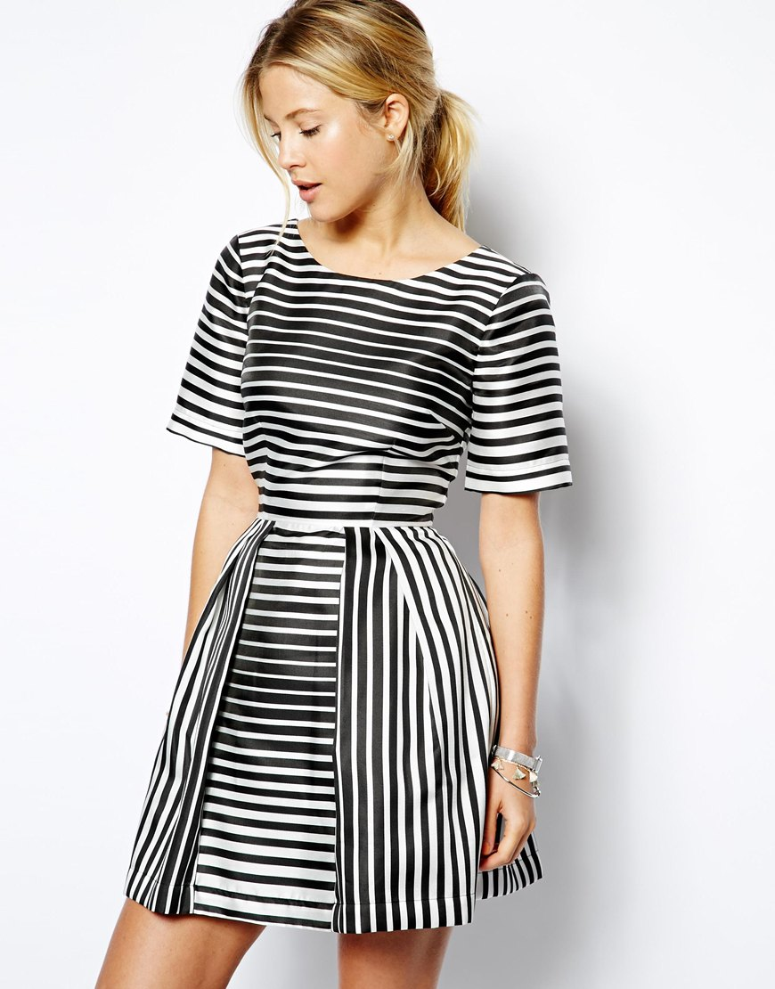 ASOS Structured Skater Dress In Stripe at asos.com