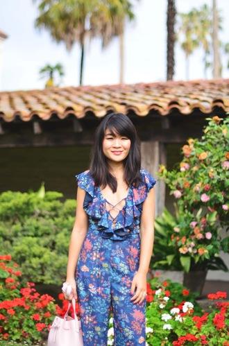 daily disguise blogger jumpsuit bag blue jumpsuit lace up jumper lace up pink bag