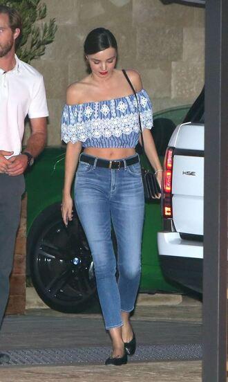 blouse off the shoulder model off-duty miranda kerr jeans crop tops