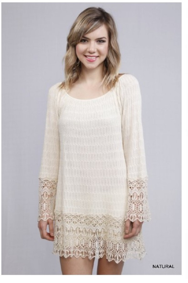 cream lace dress bell sleeved