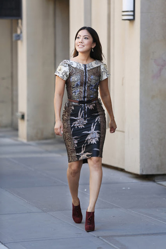 wearing fashion fluently blogger bodycon dress printed dress jacquard