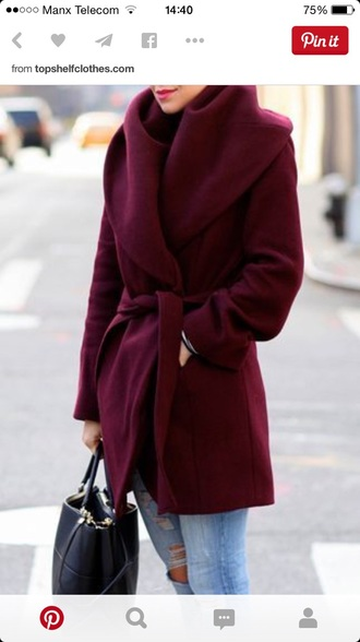 coat burgundy jacket wrap tie women's