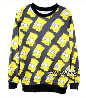 sweater yellow black the simpsons bart simpson sweatshirt pullover crewneck unisex