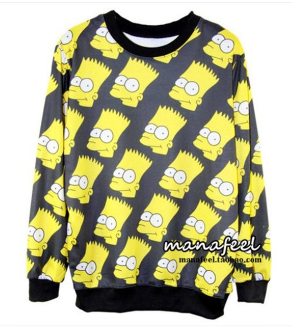 sweater yellow black the simpsons bart simpson sweatshirt pullover crewneck unisex