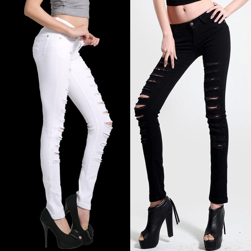 2014 Hot Fashion Ladies/Female Cotton Denim Ripped Punk Cut out Women Sexy Skinny pants Jeans Leggings Trousers Black / White-in Jeans from Apparel & Accessories on Aliexpress.com