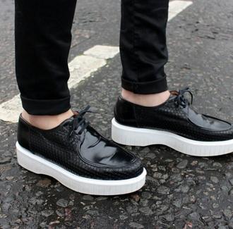 shoes black shoes platform shoes patent leather white platform shoes lace up shoes creepers menswear