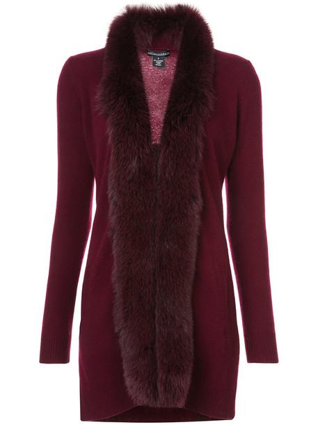 Sofia Cashmere cardigan fur trim cardigan cardigan fur fox women red sweater