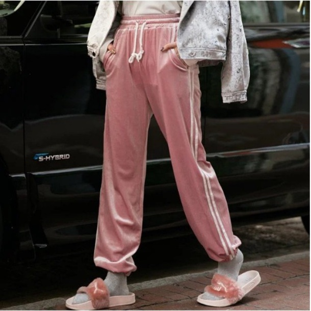 Pants: girly, track pants, sweatpants, pink, velvet ...