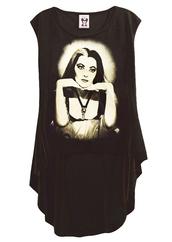 shirt,the munsters,goth,lily munster,de carlo,top,t-shirt,hi low hem,punk,punk dress,black dress,steampunk,graphic tee,hi low dresses