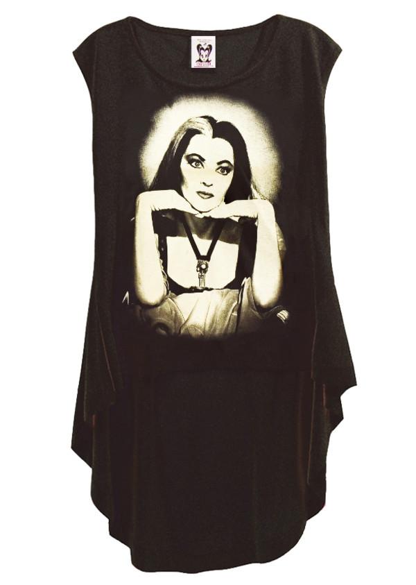 shirt the munsters goth lily munster de carlo top t-shirt hi low hem punk punk dress black dress steampunk graphic tee t-shirt hi low dresses