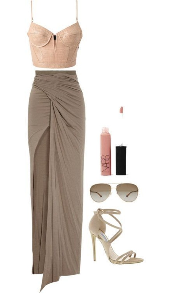 skirt beige maxi open corsage brown dress tank top i really want this whole outfit can you help me find it !!! top open toed heels bustier top maxi skirt with slits sunglasses shoes blouse maxi skirt crop tops heels wrap skirt dress style corset top spaghetti strap strappy heels elegant sophisticated dress up neutral party shirt baige