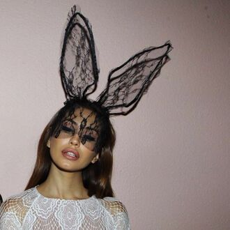 halloween costume bunny hair accessory sexy halloween accessory top headband bunny ears mask lace cat ears animal ears black lace bunny ears lace hat black lace hair halloween halloween accessory cute cheap monday girl girly accessories black fashion