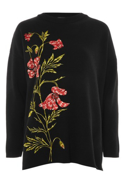 Topshop sweater embroidered floral black