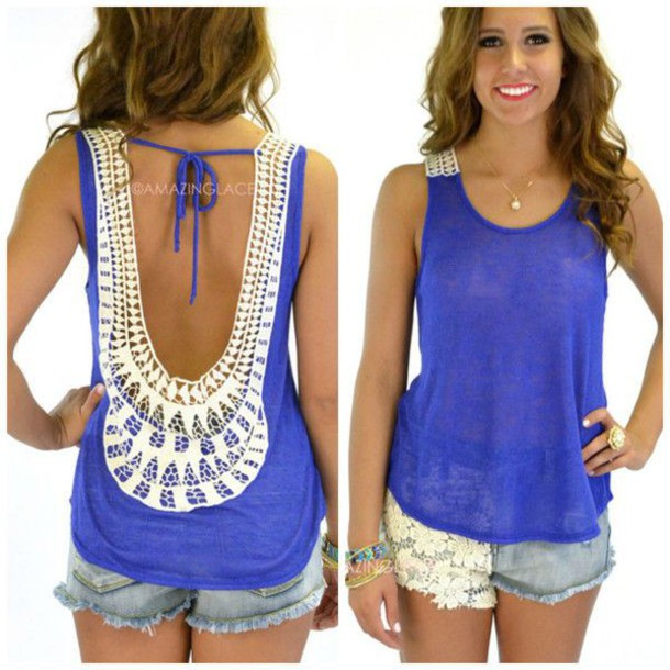 Tank top lace open back tshirt summer outfits wheretoget