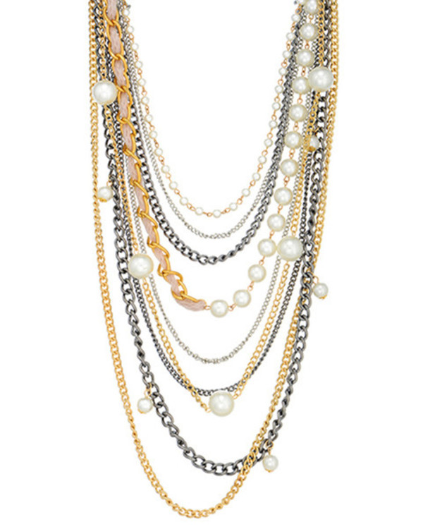 jewels pearl layering necklace