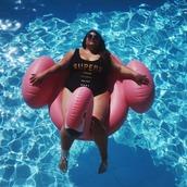 swimwear,plus size swimwear,curvy,plus size,black swimwear,quote on it,sunglasses,pool
