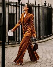jacket,velvet blazer,pants,patent bag,high heel sandals,white top,sunglasses