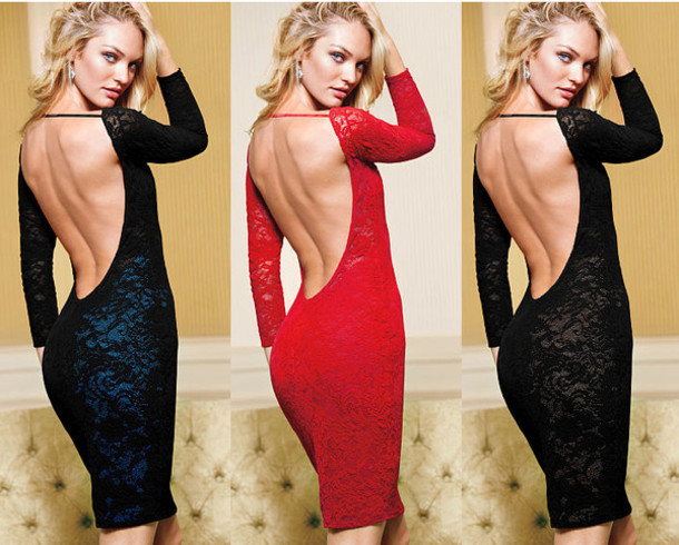 Open Back Long Sleeve Party Dresses