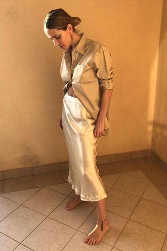 skirt midi skirt top shirt pernille teisbaek blogger instagram spring outfits blouse