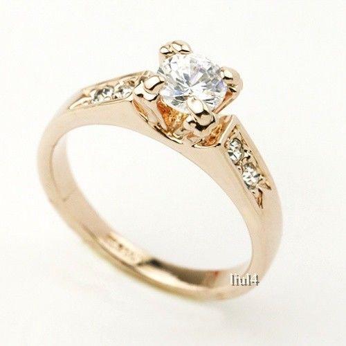 18K Rose Gold Plating Swarovski Element Crystal Marriage Ring 7 8 9 SIZE433   eBay